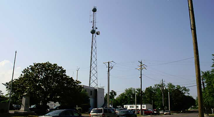 Image of communication tower in city
