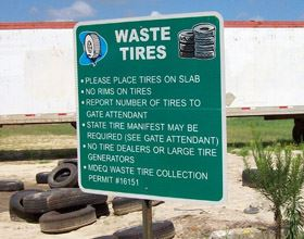 Image of sign for waste tires